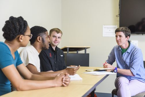 Dr. Meredith Bagley meets with C&IS Graduate Students.